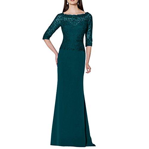 Brautmutterkleider Langes mia Chiffon Abendkleider Spitze Tuerkis Brau Etuikleider La Festlichkleider Dunkel Abschlussballkleider xgIwAqg6