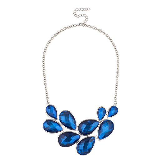 Lux Accessories Silver Tone Tear Drop Faux Blue Gemstone Statement Bib - Teardrop Necklace Faux