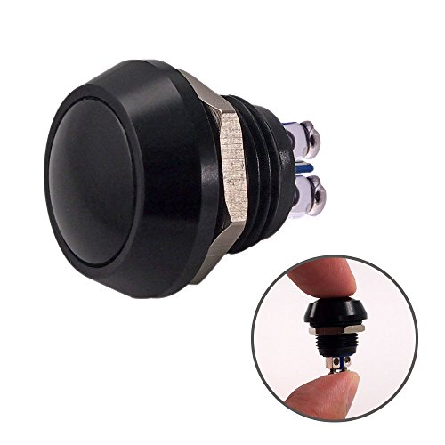 Momentary Push Button Switch, URTONE UR123, 1NO SPST DC/AC 36V 2A Aluminum Alloy Metal Shell Suitable for 12mm 1/2