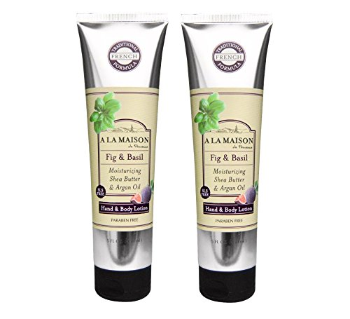 A La Maison de Provence Fig & Basil Hand and Body Lotion (Pack of 2) With Shea Butter, Avocado Oil and Vitamin E, 5 fl oz Each