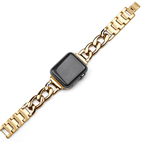 Hero Iand for Apple Watch Band, 38mm 42mm Stainless Steel Metal Cowboy Chain Style Band for Apple Watch Series 2 Series 1 (Gold, 38mm) ()