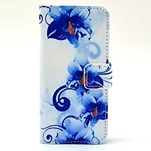 Violet Pattern PU Leather Full Body Case with Card Slot and Stand for iPhone 5/5S