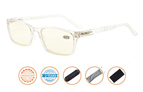 UV Protection,Anti Blue Rays,Reduce Eyestrain,Spring Hinges,Computer Reading Glasses(Clear Frame,Amber Tinted Lenses) without - Glasses Clear Uv Protection 100