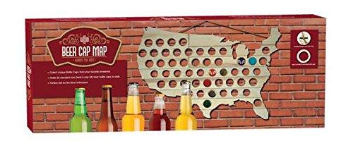 Mark Feldstein & Associates MBBCH Beer Bottle Cap Map USA Bottle Cap Map,Natural Wood,23.5 x 0.4 x 15