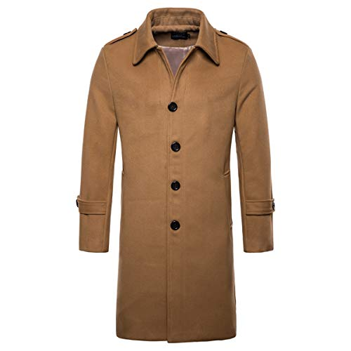 AOWOFS Men's Mid Long Wool Woolen Pea Coat Single Breasted Overcoat Winter Trench Coat Camel