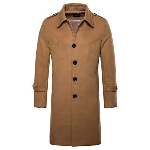 839f251c39df AOWOFS Men's Mid Long Wool Woolen Pea Coat Single Breasted Overcoat Winter  Trench Coat