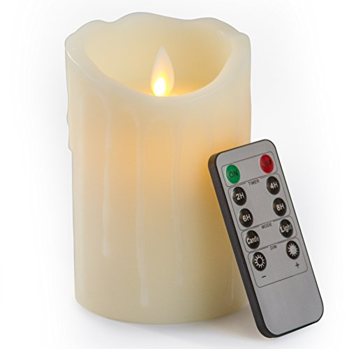 Gideon 5 Inch Flameless LED Candle Made with Real Wax and Dripping Style Design and Realistic Flickering Candle Motion Includes Remote Control - Vanilla Scented