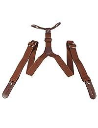 Fdit 2 Colores Hombres Mujeres Tirantes Sólido Ajustable Banda Elástica Botón Hebilla Pantalones Pantalones Tirantes(marrón)