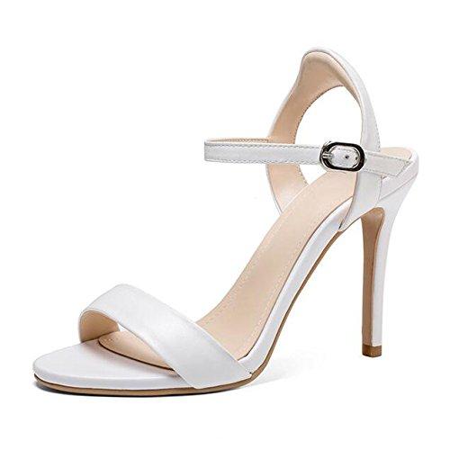 Sera di 10CM Cuoio Toe Prom Scarpe Donne Fibbia da delle alla Sandali WWUX Alti Caviglia White 37 Peep Commerce Modo Semplici di Partito Stiletto Cinturino Tacchi Scarpe q4f5gxzwE