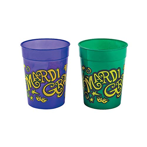 Fun Express - Mardi Gras Plastic Cups for Mardi Gras - Party Supplies - Drinkware - Re - Usable Cups - Mardi Gras - 12 Pieces