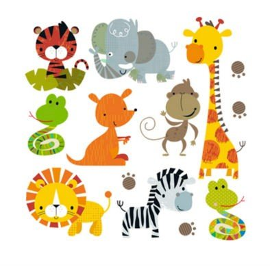 Pegatinas infantiles transfer parche termoadhesivo animales zoo para pijamas, sudaderas, camisetas, canastillas...23 x 23 cm. de OPEN BUY: Amazon.es: Hogar