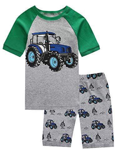 KikizYe Little Boys Tractor Summer Pajamas Short Sets 100% Cotton Pants Sets Kid 6]()