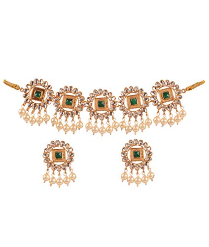 Touchstone New Contemporary Kundan Collection Indian Bollywood Replica Enchanting Kundan Look Faux Emerald Mughal Designer Jewelry Necklace Set in Gold Tone for - Green Necklace Tone Beads Gold