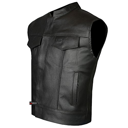 (SOA Men's Leather Vest Anarchy Motorcycle Biker Club Concealed Carry Outlaws L)