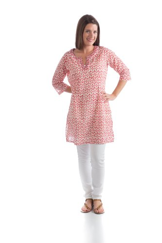 Organic Cotton Hand Block Print Isla Tunic (X-Small, Red Diamond)