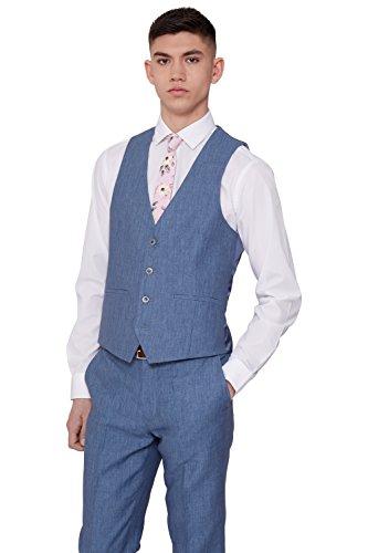 im Fit Sky Blue Linen Suit Vest 38R (Blue Linen Suit)