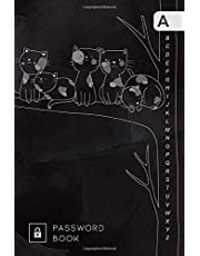 Password Book: 4x6 Mini Password Notebook Organizer | A-Z Alphabetical Tabs Printed | Cute Cats on Tree Branch Design Marble Black