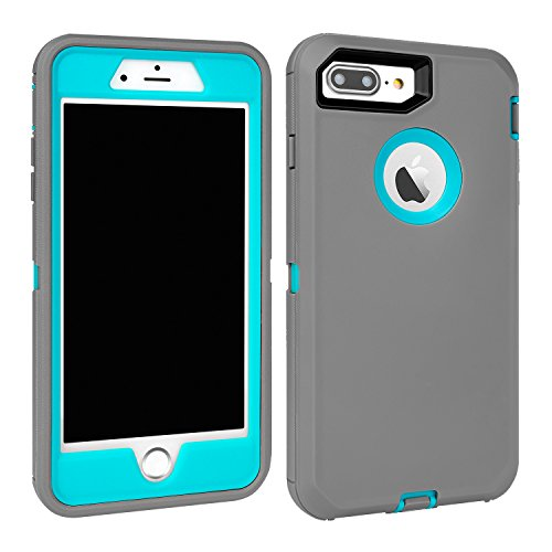 Maxcury Case for iPhone 7 Plus and iPhone 8 Plus, Shockproof Heavy Duty Three Layer Hybrid Sturdy Armor High Impact Resistant iPhone 7 Plus/8 Plus Protective Cover Case (Grey/Lt Blue)