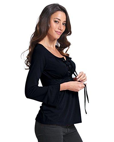 StyleDome Mujer Camiseta Blusa Mangas Largas Elegante Escote V Tiras Entallada Casual Negro