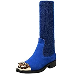 Arraysa Womens Abaaz Round-Toe 3.5CM Pull-On Boots Shoes, Blue, 8.5 US