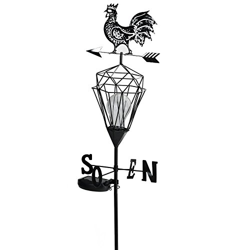 Northlight Rooster Solar Powered LED Outdoor Metal Lantern with Weather Vane, 46.5