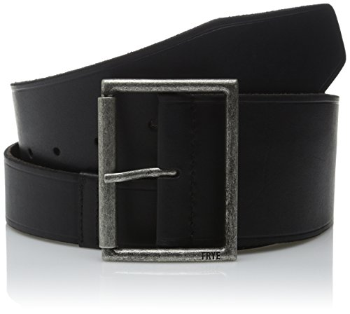 Frye Women's 65MM Shaped Leather Belt with Heat Crease on Pilgrim Roller Buckle, Black, Large by FRYE