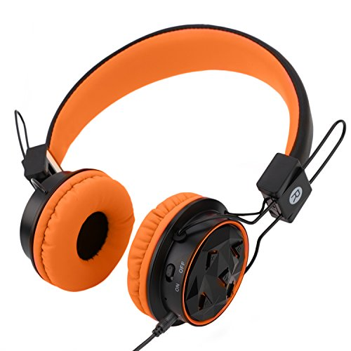 Kids Wireless Headphones Bluetooth Toddlers Headphones with Stereo Sound,3.5mm Jack Wired Cord, Aux in,SD Card Slot,Long Lasting Playing Time(Orange/Black)-Handal