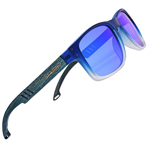SKADINO Handmade Polished Beech Wood Sunglasses with Blue Mirror Polarized Lenses for Men or Women in a - Justin Blue