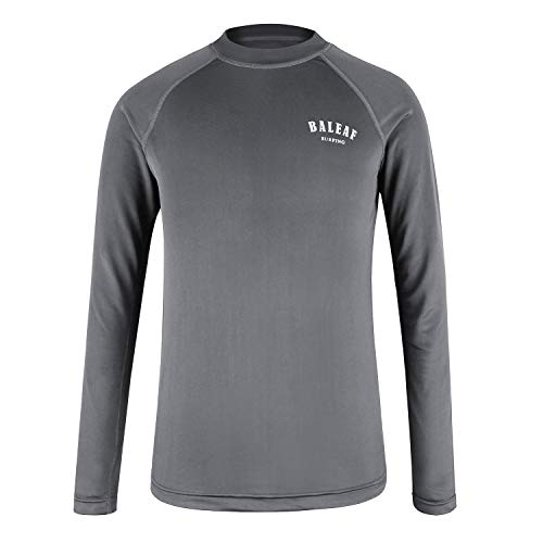 (Baleaf Long Sleeve Rash Guard Shirt for Boys Quick Dry UPF 50+ Athletic Performance Swim Shirt Grey L )