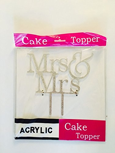 - [USA-SALES] Mrs and Mrs Sign, Lesbian Cake Topper Silver, Wedding Decorations