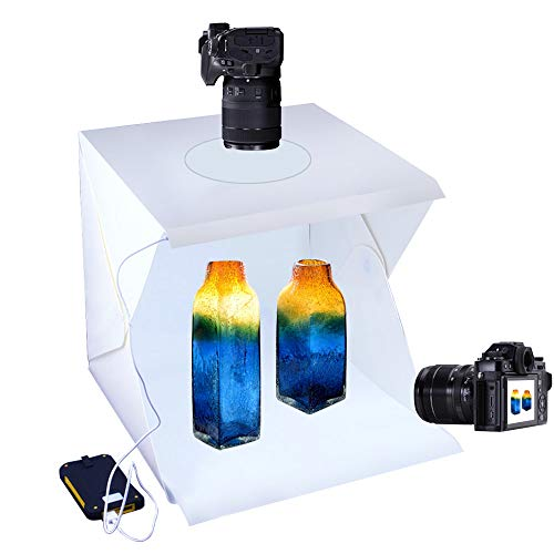 SENLIXIN Photo Studio Tent Jewelry Light Box Kit Portable Foldable Home Photography Studio Light Box Booth Shooting Tent with LED Light Strips - with 2 Color Background (30x30x30cm)