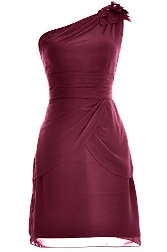 MACloth Gown Formal Evening Short Shoulder Women Weinrot Cocktail One Bridesmaid Dress 11qpS6zr