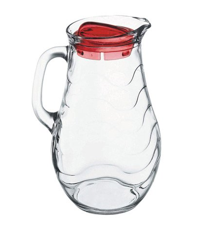 Pasabahce 80116, 61 3/4 oz Glass Jug, Pitcher with Handle, Juice Water Soda Old-Fashioned Classic Beverage Pitcher / Carafe (Red Juice Pitcher)