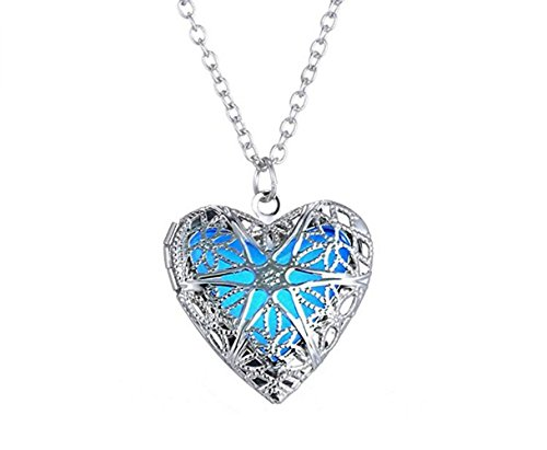 Most Beloved Heart Locket Glowing Necklace Personalized Silver Plated Jewelry Aqua Blue - Glow Worm Costume Adults