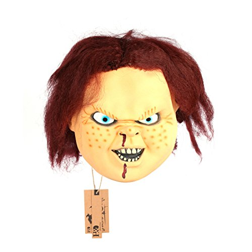 2pcs/set Funny Latex Mascara De Chucky Mask Ghost Baby Mask for Halloween Party Decor Props by YUFENG
