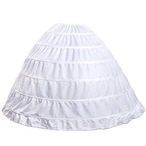 Crinoline Petticoat for Wedding Dress A-line Bustle Underskirt Bridal Dress Gown Slip Petticoat Wedding Petticoat Hoop Skirt (white)OS