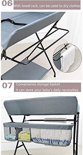 SUBBYE ポータブルベビーおむつ交換台、多機能折りたたみ式保育園新生児幼児マッサージケアステーションドレッサー、クロスレッグ、80×57×104cm、2色 (Color : Gray)