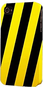 Black & Yellow Strips Dimensional Case Fits Apple iPhone 4 or iPhone 4s