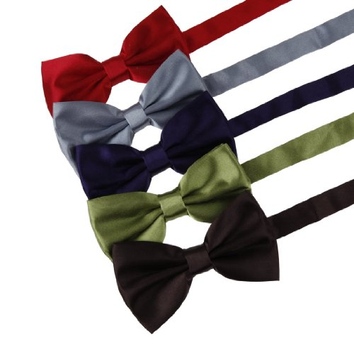 DBF2001 Mens Bow Tie RedGreyPurpleGreenBrown Solid Poly Pre-tied Bow tie Gift Box Set 5T By Dan Smith