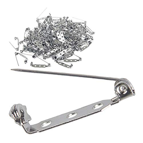 200 pcs Silver Safety Clasp, Abuff Pin Back Clasp Brooch Pins Findings with 3 Holes for Badge Insignia, Citation Bars, Making Corsage, Name Tags, Toy Pins and Jewelry Making,