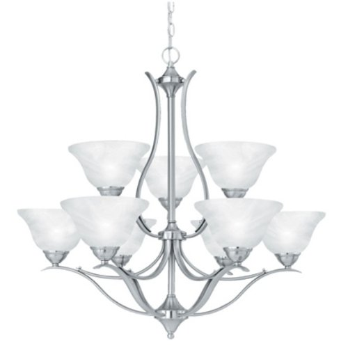 Thomas Lighting Sl8639-78 Prestige Nine-Light Two-Tiered Chandelier, Brushed Nickel