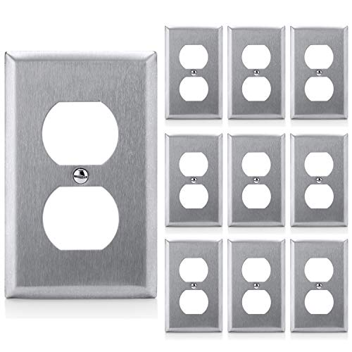 [10 Pack] BESTTEN Duplex Metal Wall Plates, 1 Gang Standard Stainless Steel Outlet Cover, Durable Corrosion Resistant, Industrial Grade 304SS Material, UL Listed, Silver