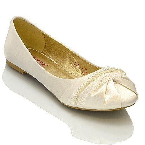 Satin Flats Ballerina (Essex Glam Womens Ivory Satin Lace Pearl Bridal Ballerina Pumps 10 2A(N) US)