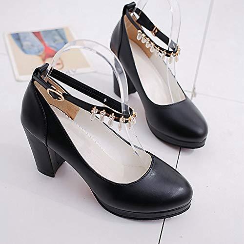 Ankle Strap Heel Summer Beige Shoes Polyurethane Women's Heels ZHZNVX Chunky PU Black Beige Pink wxzqYRnX