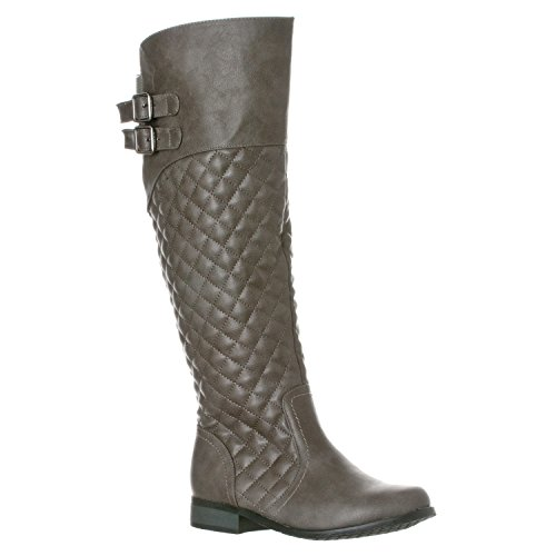 Riverberry Women's Lily Quilted Knee-High Low Heel Casual Riding Boots, Grey, 6.5