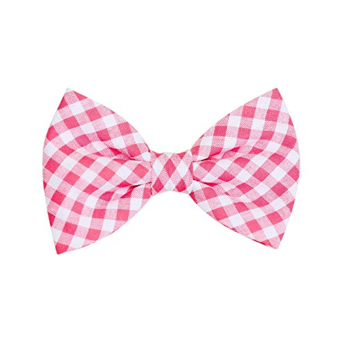 THE DOK Pink Gingham – Dog Cat Pet Bow Tie Bowtie Collar Accessory 4 inch Christmas New Year 2020 Gift