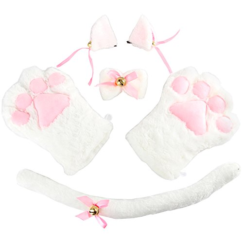 [Acecharming 4pcs Cat Cosplay Fancy Costume Neko Anime Costume Lolita Gothic Set (White)] (White Cat Costume For Women)