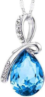 Collar de la lágrima de amor eterno elementos de Swarovski colgante - azul marino (41 cm de cadena)