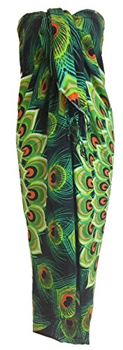 - Sarong Wrap From Bali Your Choice of Design Beach Cover Up (Peacock Green)