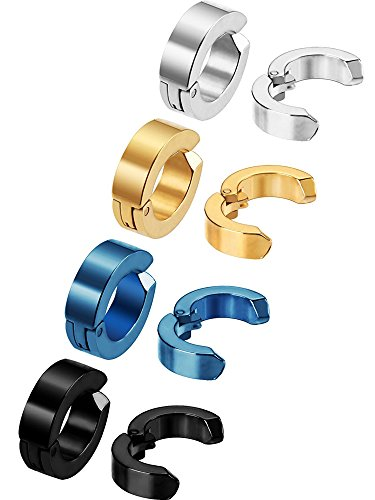 Piercing Clip - Mudder 8 Pieces Non-piercing Earrings Ear Clip Fake Ear Hoops for Men and Women, Stainless Steel, 4 Colors
